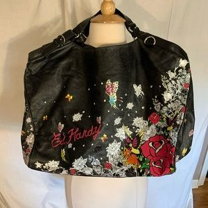 Ed Hardy faux leather oversized hobo bag w/ pouch